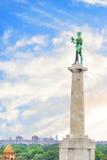 Piękny widok zabytek zwycięzca blisko Belgrade fortecy w Belgrade, Serbia Fotografia Stock