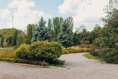 Piękny widok zieleń park z kwiatów łóżkami obraz stock