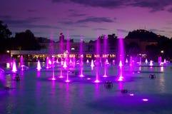Piękny wieczór fontann widok, Plovdiv zdjęcie stock