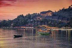 Piękny wieczór przy Ko Phangan wyspą Zdjęcia Royalty Free