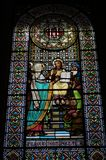 Piękny witrażu okno w Montserrat zdjęcie royalty free