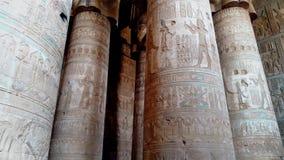 Piękny wnętrze świątynia Dendera lub świątynia Hathor Egipt, Dendera, Antyczna Egipska świątynia blisko zdjęcie wideo