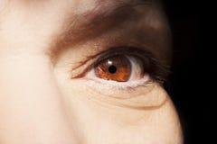 Piękny wnikliwy spojrzenie kobiety ` s oko Zamyka w górę strzału Zdjęcia Stock
