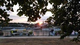 Piękny wschód słońca i Belgrade panorama Zdjęcia Royalty Free