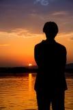Piękny wschód słońca na rzecznym Bojana Obrazy Royalty Free
