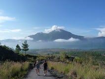 Piękny wschód słońca na wulkanie Widok Agung wulkan od szczytu Batur Obraz Stock