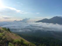 Piękny wschód słońca na wulkanie Widok Agung wulkan od szczytu Batur Zdjęcia Stock