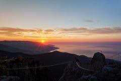 Piękny wschód słońca nad Czarnym morzem Zdjęcia Royalty Free