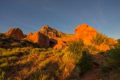 Piękny wschód słońca przy jama punktem, Uroczysty schody - Escalante Na Fotografia Stock