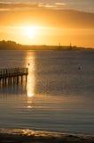 Piękny wschód słońca w lecie spokojnym morzem Obrazy Stock