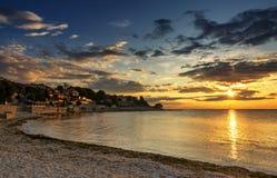 Piękny wschód słońca wcześnie w ranku w Nessebar starym miasteczku Bułgarski Czarny Denny wybrzeże Obraz Stock