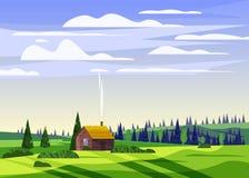 Piękny wsi lata krajobraz, dolinny wiejski gospodarstwo rolne dom, zieleni wzgórza, jaskrawy koloru niebieskie niebo, łąki z ilustracji