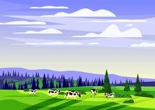 Piękny wsi lata krajobraz, stado krowy gospodarstwa rolnego dolinny wiejski dom, zieleni wzgórza, jaskrawy koloru niebieskie nieb royalty ilustracja