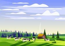 Piękny wsi lata krajobraz, stado krowy gospodarstwa rolnego dolinny wiejski dom, zieleni wzgórza, jaskrawy koloru niebieskie nieb ilustracja wektor