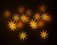 Piękny złocisty bokeh z wzorem geometryczni elementy na ciemnym tle Zdjęcia Stock