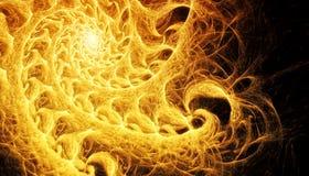 Piękny złocisty tło rozjarzona spirala z głębią pole i bokeh 3d ilustracja, 3d odpłaca się zdjęcie royalty free