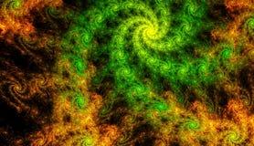 Piękny złota, zieleni tło rozjarzona spirala z głębią i 3d ilustracja, 3d odpłaca się fotografia royalty free