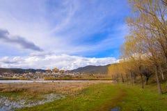 Piękny Złoty lasów i jeziora przód Songzanlin - tybetańczyk Zdjęcie Royalty Free
