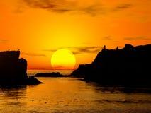 piękny zachód słońca ilustracji