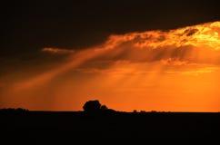 piękny zachód słońca w tle Zdjęcia Stock