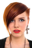 piękny zamknięty włosiany portreta czerwieni styl w górę kobiety obrazy royalty free