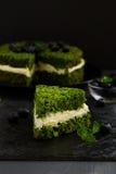 Piękny zieleń tort z szpinakiem Obraz Stock