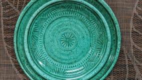 Piękny zielony błękitny dekoracyjny talerz royalty ilustracja