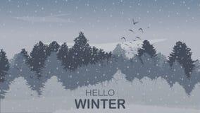 Piękny zima krajobrazu tło z zimy sosny Barwionym lasem, opadem śniegu, tekstem i Wstępującymi ptakami, wektor Ilustracji