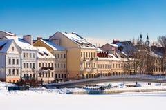 Piękny zima widok stary miasteczko minister Białoruś fotografia stock
