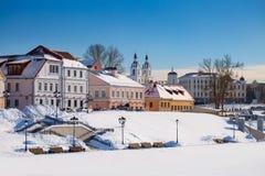 Piękny zima widok stary miasteczko minister Białoruś obrazy royalty free