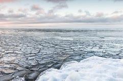 Piękny zimny zima dzień obok marznięcia jeziora Obrazy Stock