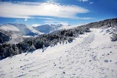 Piękny zimy góry krajobraz od Bułgaria Borovets Fotografia Royalty Free