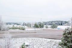 Piękny zimy landscape Mroźna natura Zim tła Obrazy Stock