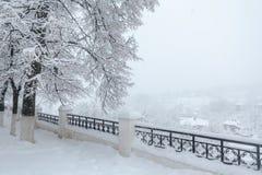 Piękny zimy miasta krajobraz podczas śnieżnej burzy zdjęcia stock