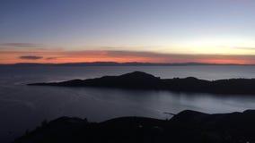 Piękny zmierzch na Isla Del Zol, jeziorny titicaca Bolivia zdjęcia stock