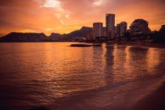 Piękny zmierzch na wybrzeżu Hiszpania Fotografia Royalty Free