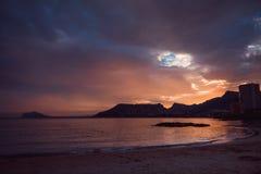 Piękny zmierzch na wybrzeżu Hiszpania Zdjęcie Royalty Free