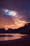 Piękny zmierzch na wybrzeżu Hiszpania Zdjęcia Stock