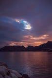 Piękny zmierzch na wybrzeżu Hiszpania Obraz Royalty Free