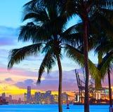 Piękny zmierzch nad śródmieściem i portem Miami Obraz Royalty Free