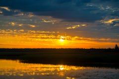 Piękny zmierzch - pomarańczowy słońce i niebo nad las losem angeles Obraz Stock