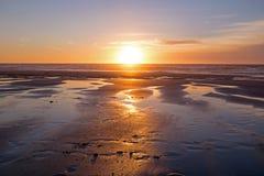 Piękny zmierzch przy atlantyckim oceanem Fotografia Stock