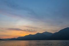 Piękny zmierzch przy Iseo jeziorem, Lombardy, Włochy Obrazy Royalty Free