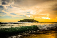 Piękny zmierzch przy Mazatlan plażą, Meksyk Zdjęcia Royalty Free