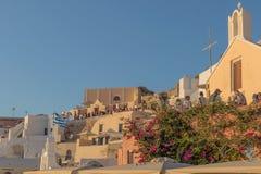 Piękny zmierzch przy sławnym miejscem Oia, Santorini Gre obrazy royalty free