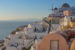 Piękny zmierzch przy sławnym miejscem Oia, Santorini Gre fotografia royalty free