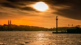 Piękny zmierzch przy Sztokholm zdjęcia royalty free