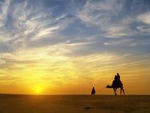 Piękny zmierzch przy Thar pustynią, Jaisalmer, India Obrazy Royalty Free
