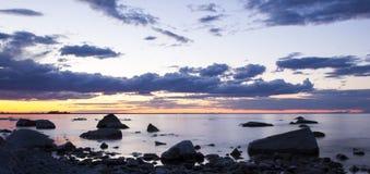 Piękny zmierzch w Balkhash jeziorze, środkowy Kazachstan Obraz Stock