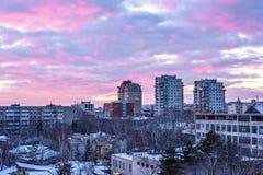Piękny zmierzch w Chisinau miasteczku zdjęcie stock
